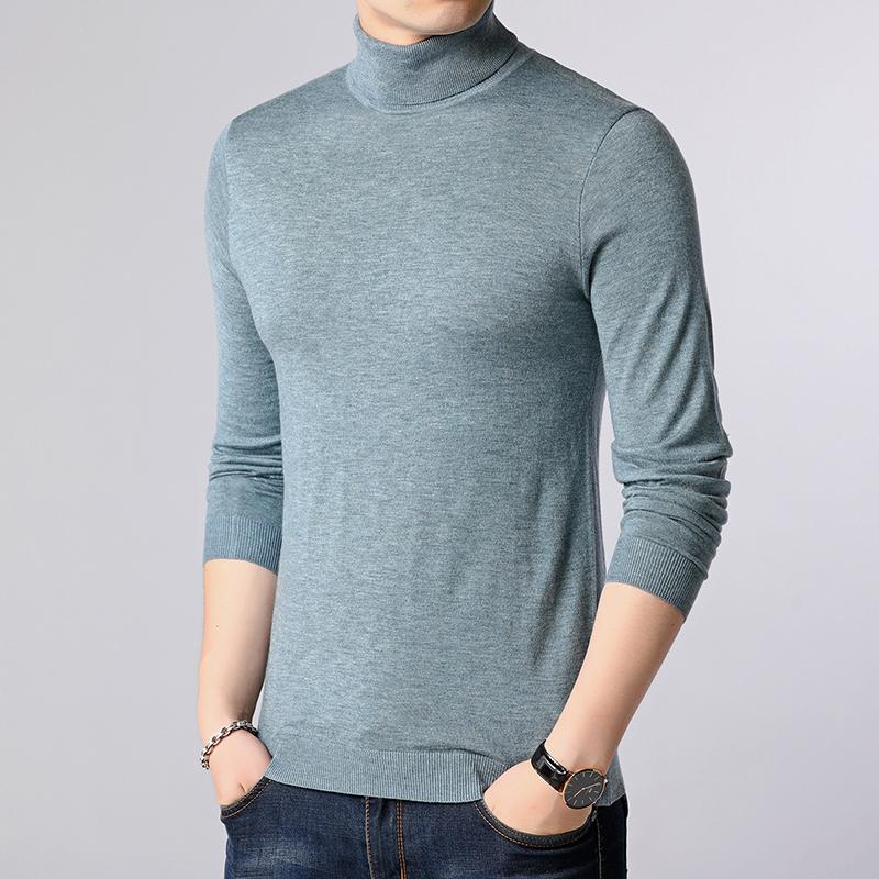 男士可翻高领羊毛衫韩版纯色毛衣休闲男装春秋季针织衫上衣服P52