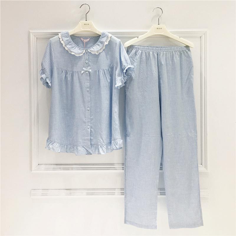 美梦妈妈夏季纯棉短袖长裤开衫睡衣(非品牌)