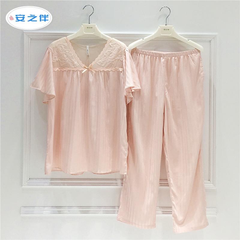 安之伴睡衣性感女人V领短袖七分裤两件套装夏季宫廷风家居服 女满118元可用15元优惠券
