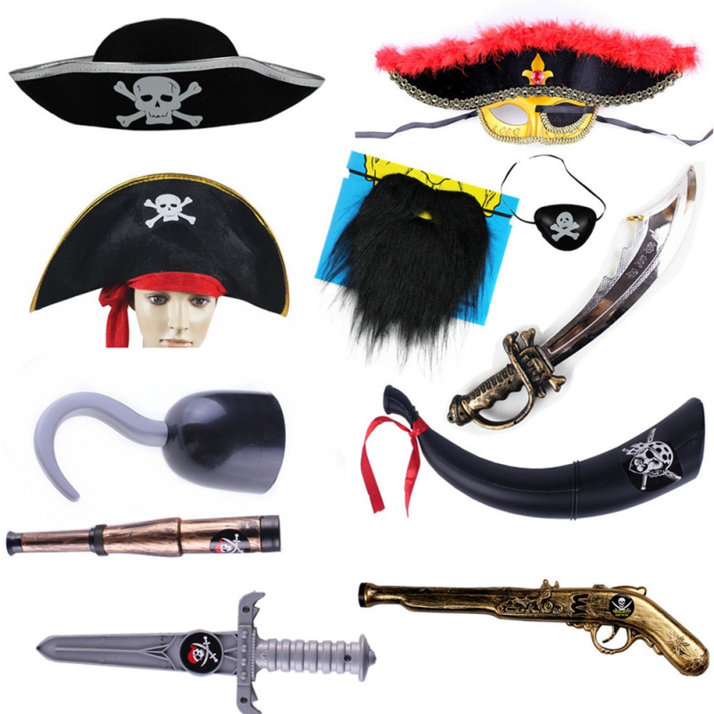 Pirate hat accessories Cosplay Pirates of the Caribbean knife pirate flag horn horn eye mask