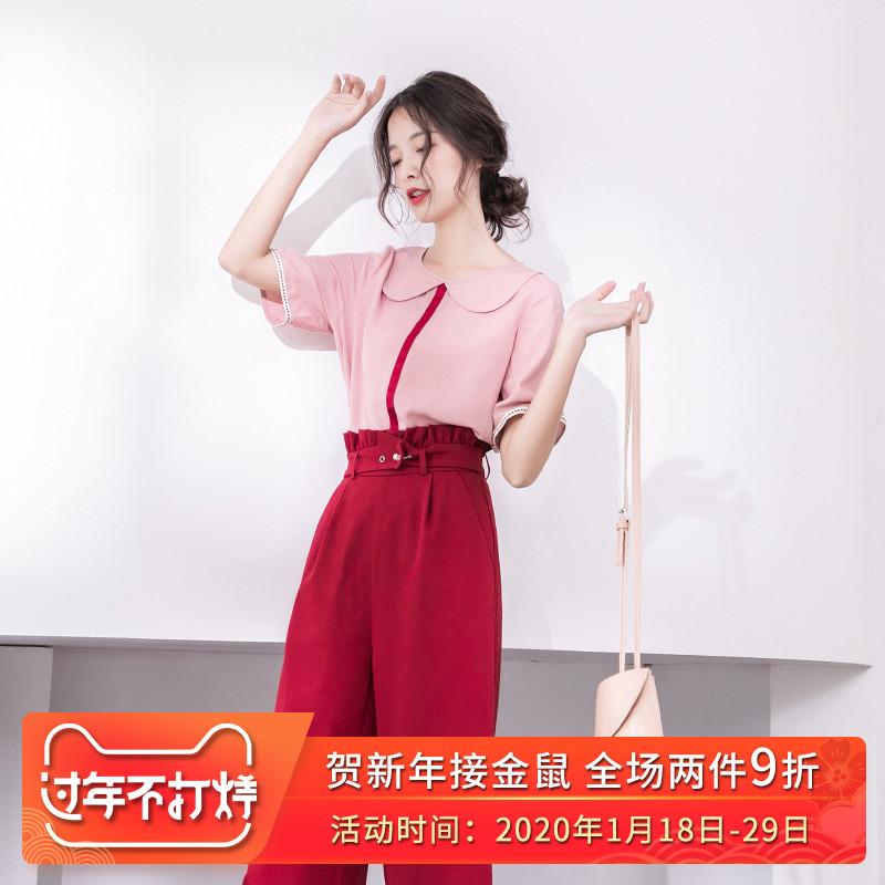 娃娃领短袖女2020新款秋装休闲复古上衣气质修身半袖超仙t恤女 - 封面