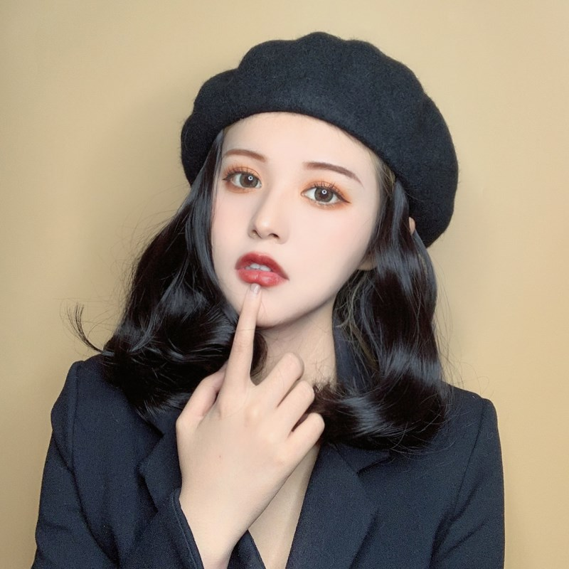 Gaoyangdian net red hat with hair burst wig hat integrated fashion womens health style 2019 new winter middle length