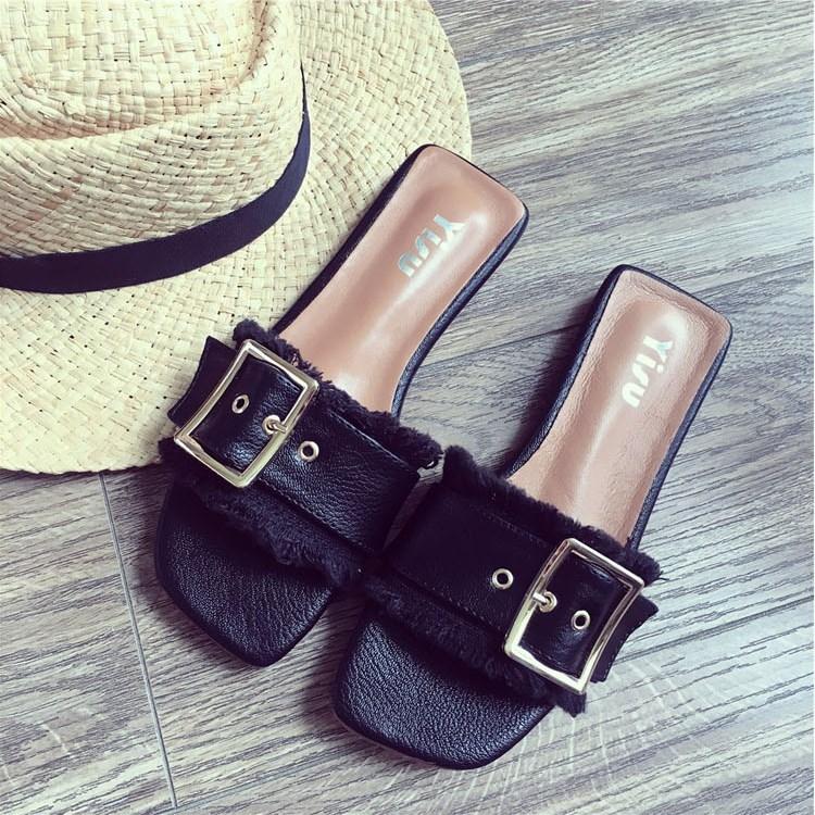 露趾一字拖鞋子女2018新款韩版夏季平底时尚百搭凉拖鞋外穿沙滩鞋