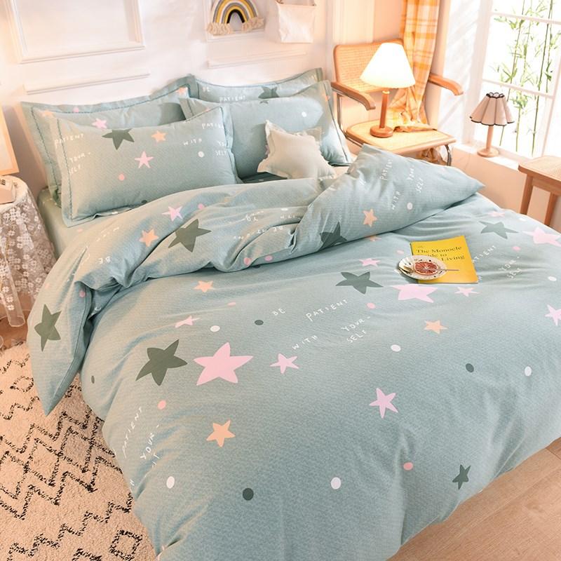 水星家纺加厚纯棉磨毛三四件套网红款裸睡全棉床单秋冬季被套床上