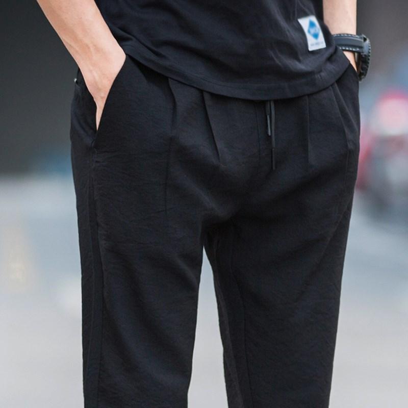 2018新款夏季薄款冰丝亚麻裤直筒宽松夏裤男士夏天超薄休闲裤子土