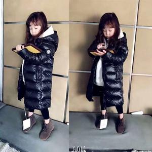 儿童黑色羽绒服长款过膝女宝宝加厚男童装韩国冬装中大童女童外套