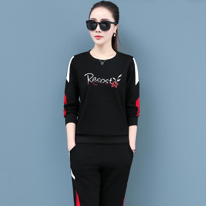 时尚纯棉运动套装女2020新款秋冬装宽松广场舞大码休闲跑步两件套图片