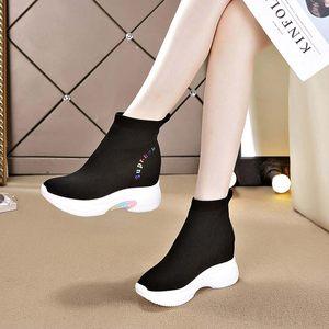 袜子鞋女2019秋季百搭高帮内增高女鞋加绒运动休闲老爹鞋冬季短靴