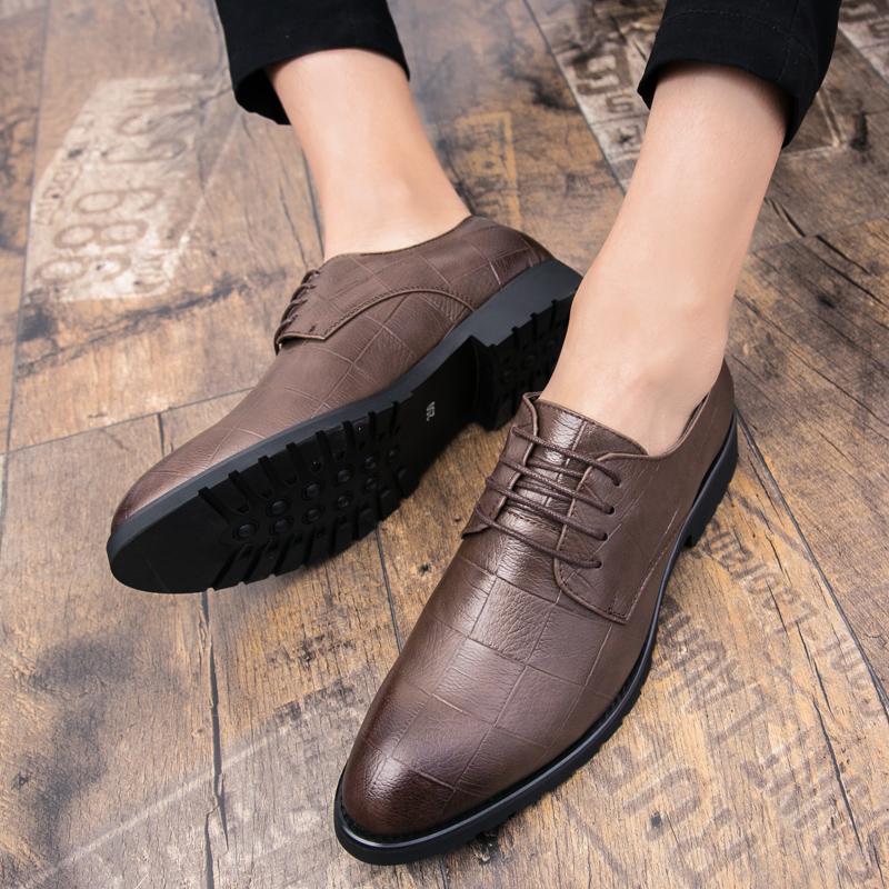 男士皮鞋韩版潮流布洛克男鞋内增高英伦黑色商务正装休闲小皮鞋男