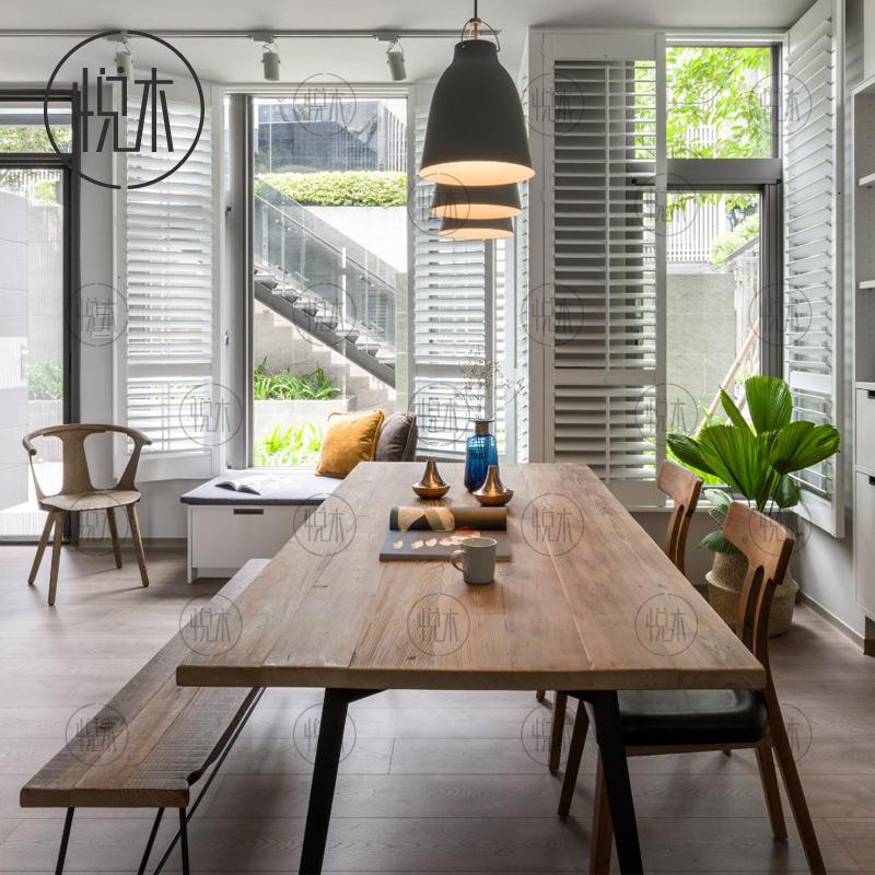 美式复古铁艺实木餐桌椅工业风办公桌书桌工作台简约现代原木桌子