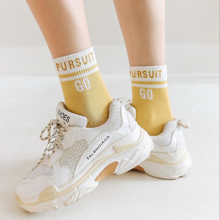 2019新款中筒袜女潮ins运动秋冬季韩国百搭纯色可爱街头学生袜子