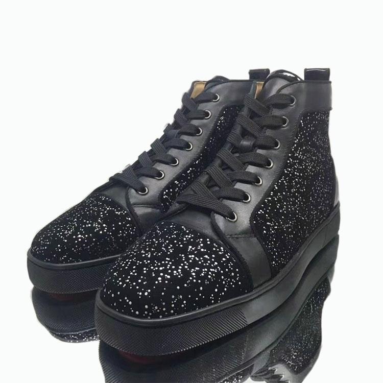 CL CIAGA 欧美潮流女鞋红底鞋高帮男鞋黑色闪粉休闲鞋情侣鞋板鞋