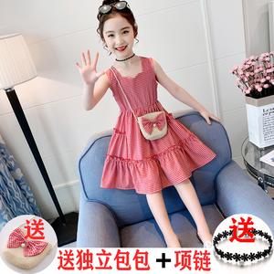 夏季女童连衣裙纯棉无袖背心裙格子洋气中大童2020新款韩版公主裙