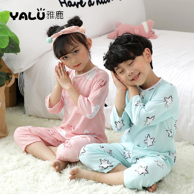 雅鹿正品夏季宝宝儿童家居服男孩女孩睡衣绵绸透气空调服套装