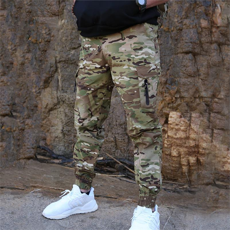 Spring and summer casual foot binding, slim wear-resistant leggings, tactical overalls, trousers, outdoor Camouflage Military pants, male special soldier