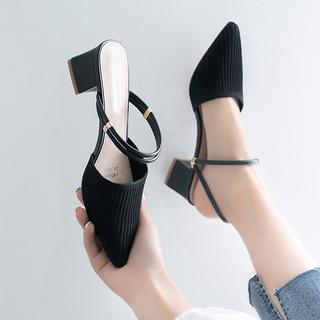 凉鞋拖鞋夏季2020新款小码尖头粗跟单鞋包头中跟高跟大码春款女鞋