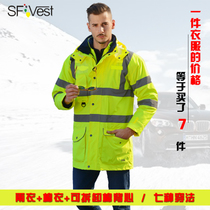 Sfvest Reflective cotton high-speed traffic safety suit ride fluorescent exterior set road cotton jacket man coat outdoor