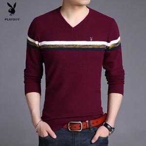 花花公子男士青年长袖T恤薄款羊毛衫V领体恤打底衫韩版修身不起球