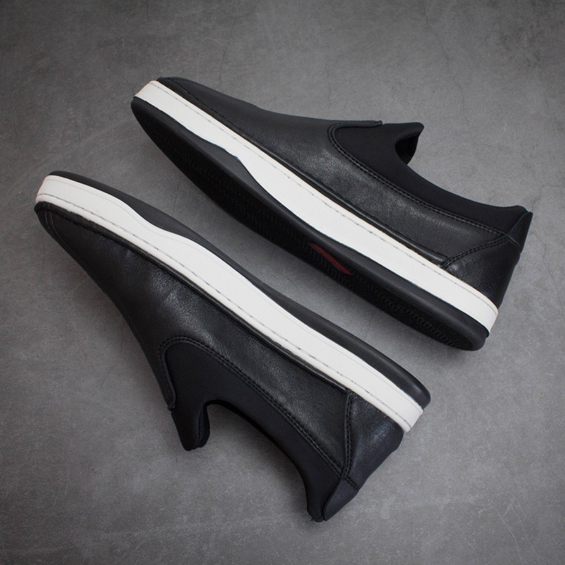 Buy YY black trend low top loafer shoes from Japan mens breathable slip on loafers flat sole single shoes Japanese Street