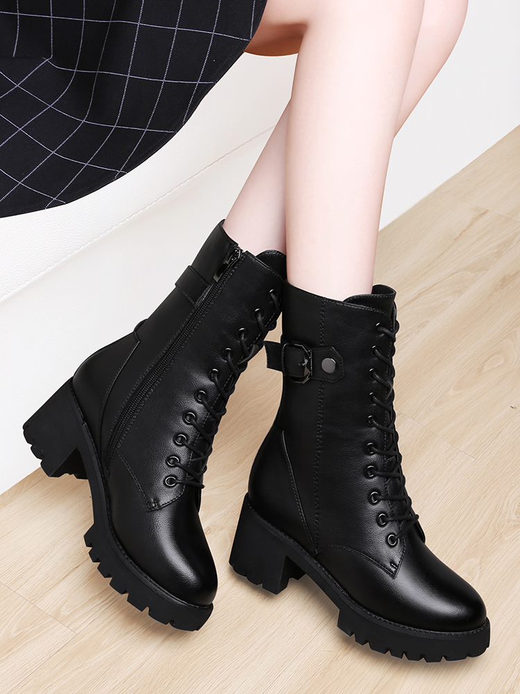 Mid heeled Martin boots womens 2020 new fall and winter versatile British style high heeled boots childrens mid tube boots thick heeled cotton shoes