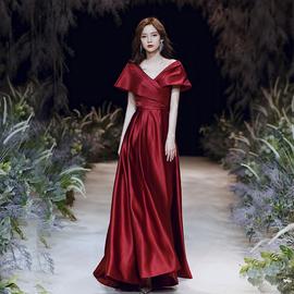 敬酒服新娘2020結婚新款夏季婚禮訂婚酒紅色禮服顯瘦孕婦簡單大氣圖片
