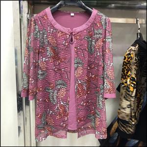 金铭鑫838 2020夏款妈妈雪纺上衣中年女装T恤中老年假两件套
