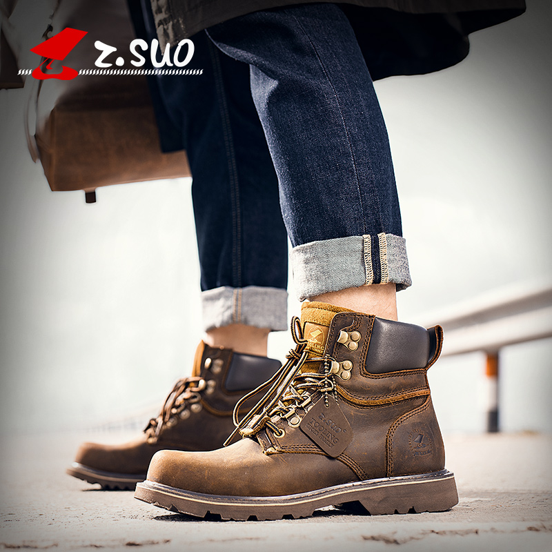 2020 new Martin boots mens fashion Retro Leather Boots Mens short boots British style desert work clothes boots high top
