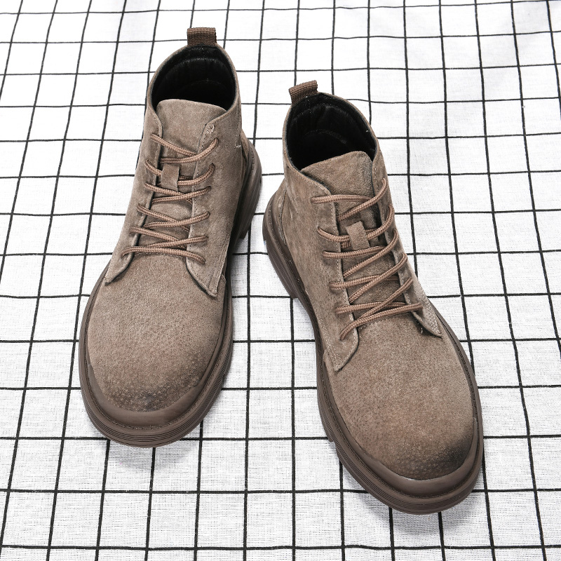 New spring boots leather Martin boots mens high top work clothes shoes medium top mens British Wind army boots desert short mens shoes