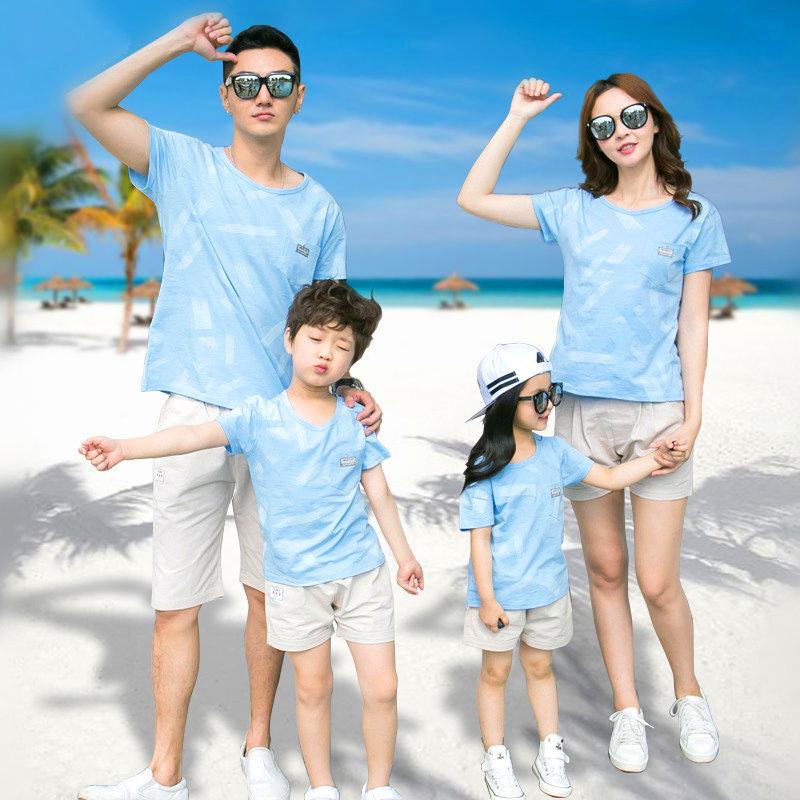 泰国海边度假情侣装沙滩裤套装男一家三口亲子装全家海滩旅游衣服