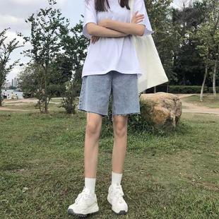 撕边牛仔短裤女2021夏宽松韩版五分裤高腰直筒港风设计感阔腿裤子