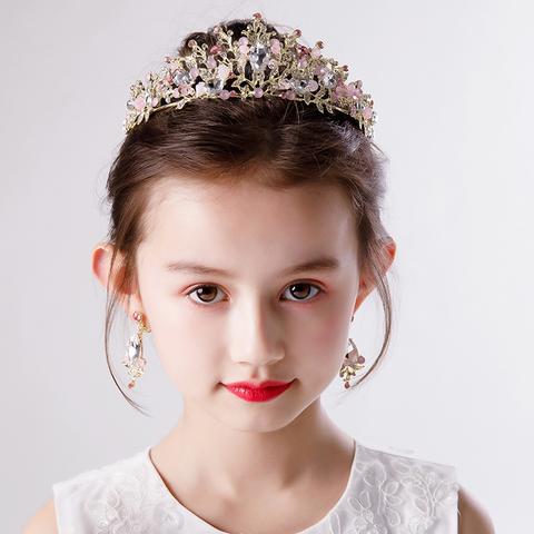 新款女童皇冠耳环套装儿童走秀演出皇冠头饰公主皇冠发饰女童皇冠