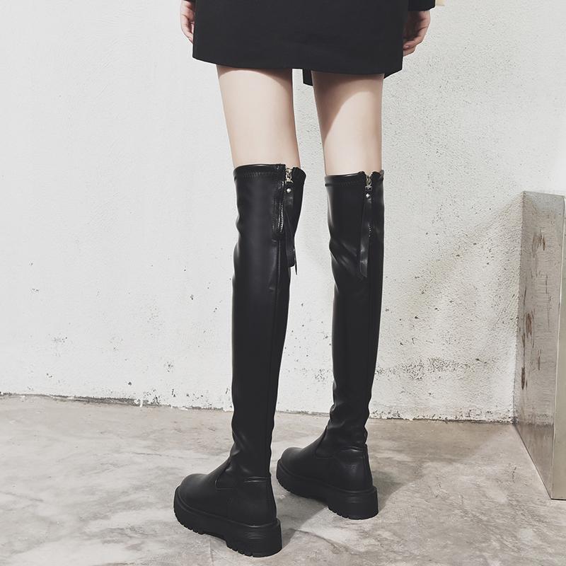 长筒靴女过膝高筒骑士靴小个子显瘦2020新款秋冬加绒平底瘦瘦长靴