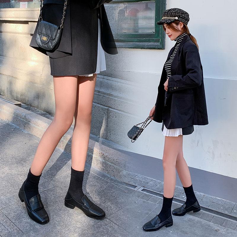 春季百搭黑色乐福鞋 平底浅口鞋网红时尚小皮鞋