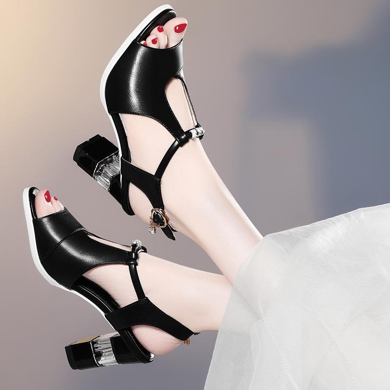 Sandals womens summer 2020 new Korean large medium heeled womens shoes versatile open toe high heeled shoes thick heeled summer shoes
