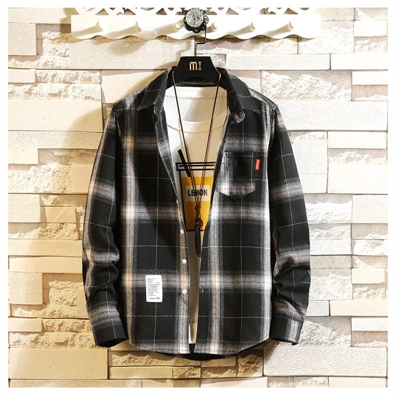 不惑鸟新款潮流春秋季不惑鸟男装格子条纹长袖衬衫CRC9479H