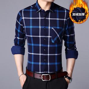 衬衫男长袖秋冬季2018新款青年韩版潮流修身加绒保暖商务男衬衣d