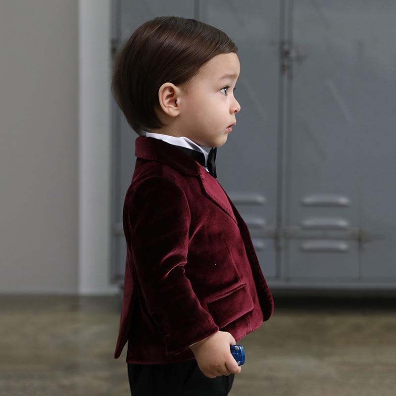 兒童西裝套裝男童花童禮服韓版小西服外套周歲生日拜年服秋冬新款