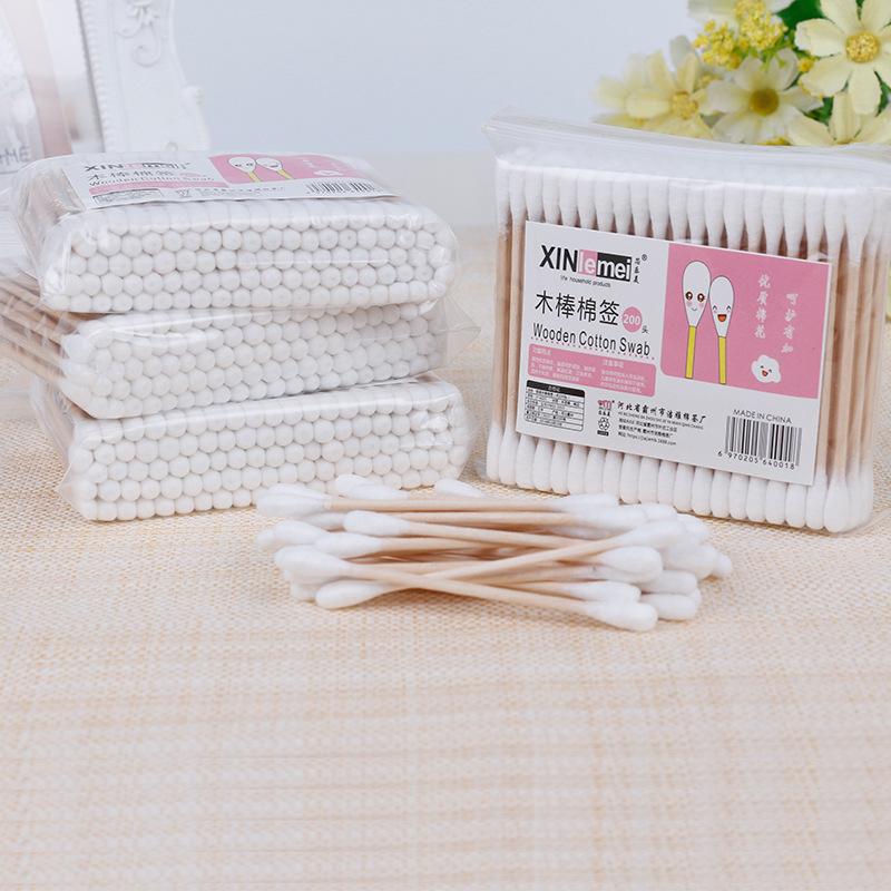 1000 soft bag wooden stick double head cotton swab sanitary cotton swab cosmetic cotton swab remover cotton swab 10 package