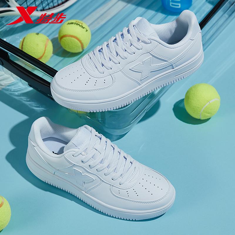特步板鞋情侣款小白鞋2020空军一号运动鞋女鞋低帮男鞋休闲鞋图片