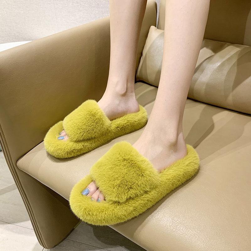 网红同款毛毛拖鞋女外穿2020新款时尚ins潮冬季厚底室内毛绒棉拖