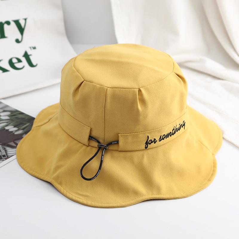 帽子女春夏天防晒遮阳帽韩版渔夫帽可爱百搭日系字母沙滩太阳帽潮图片
