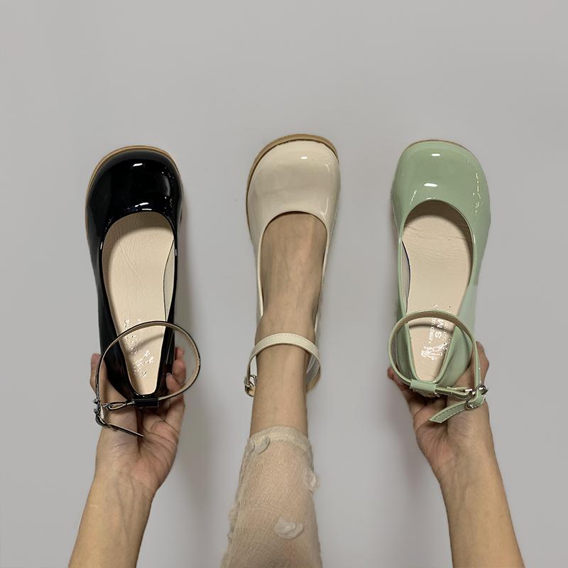 玛丽珍2020夏季新款圆头浅口高跟鞋