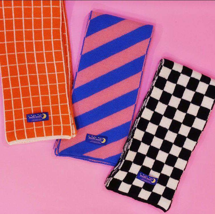 Customized Korean version of neanmoon warm chessboard stripe Plaid Scarf available