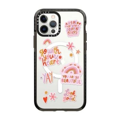 粉色正能量贴纸CASETiFY适用苹果iPhone 12/11/pro/max磁吸手机壳