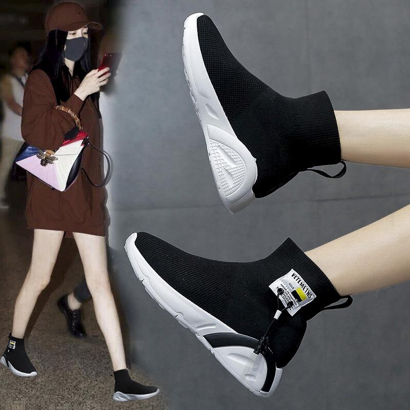 弹力袜子鞋女2019夏季网红秋款女鞋秋季新款潮鞋飞织高帮运动短靴
