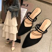 2019夏季新款性感外穿鞋子時尚拖鞋尖頭高跟鞋氣質涼鞋細跟女鞋潮