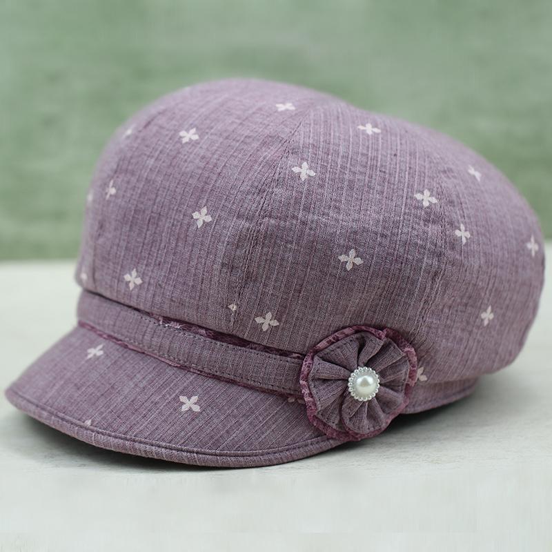春秋老人帽子女奶奶遮阳帽中老年女帽鸭舌帽秋天薄款休闲帽女布帽