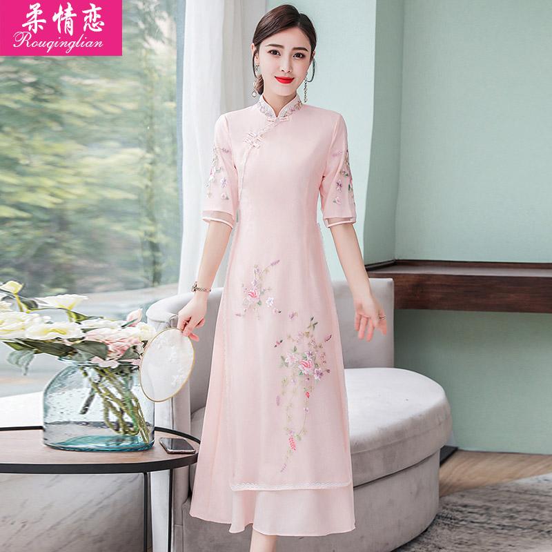 需要用券2019夏新款中国风年轻款少女连衣裙