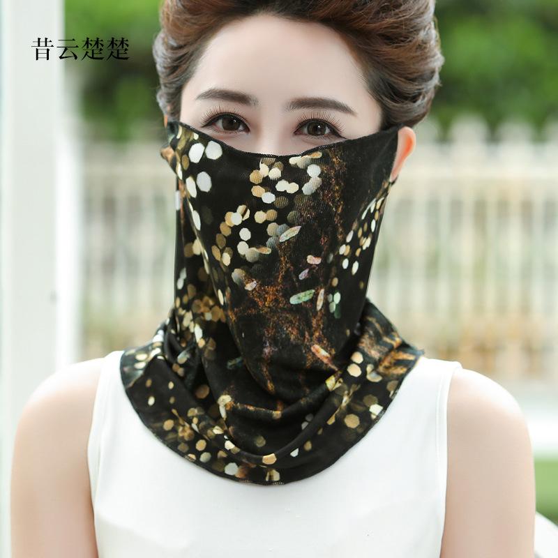 热销13件手慢无面纱女遮脸脖子防晒脖套夏季薄款丝巾真丝口罩桑蚕丝面罩护颈一体