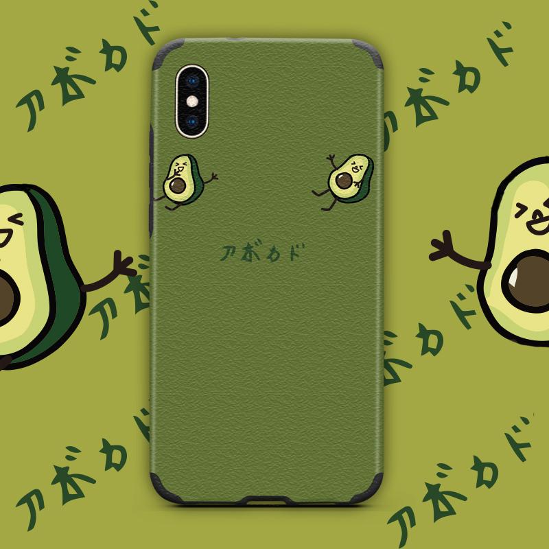 简约牛油果苹果x手机壳全包冰丝7plus个性创意可爱苹果x/xs/xr/xs max浮雕硅胶iphone8软套6s日系防摔男女款